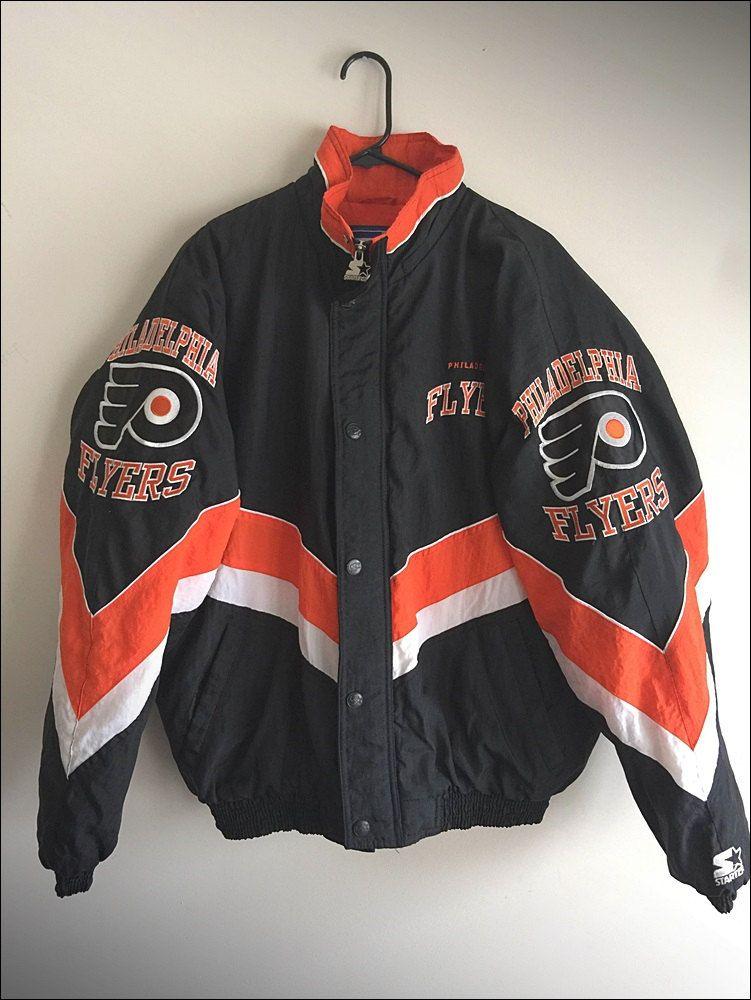 0bf7615cda4 Vintage 90 s NHL Philadelphia Flyers Starter Coat Jacket - Size Large by  JourneymanVintage on Etsy