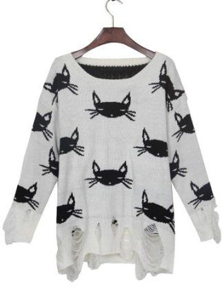 White Black Cat Print Shredded Distressed Sweater at Amazon Women's Clothing store: Pullover Sweaters
