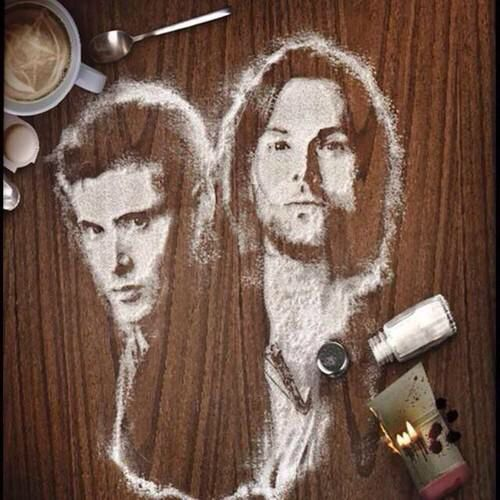 SPN Salt fan art. Unholy damn! That is beyond awesome. I've never seen a depiction of the Winchesters even remotely this good... and the others used pencils or paint. Mind blown!