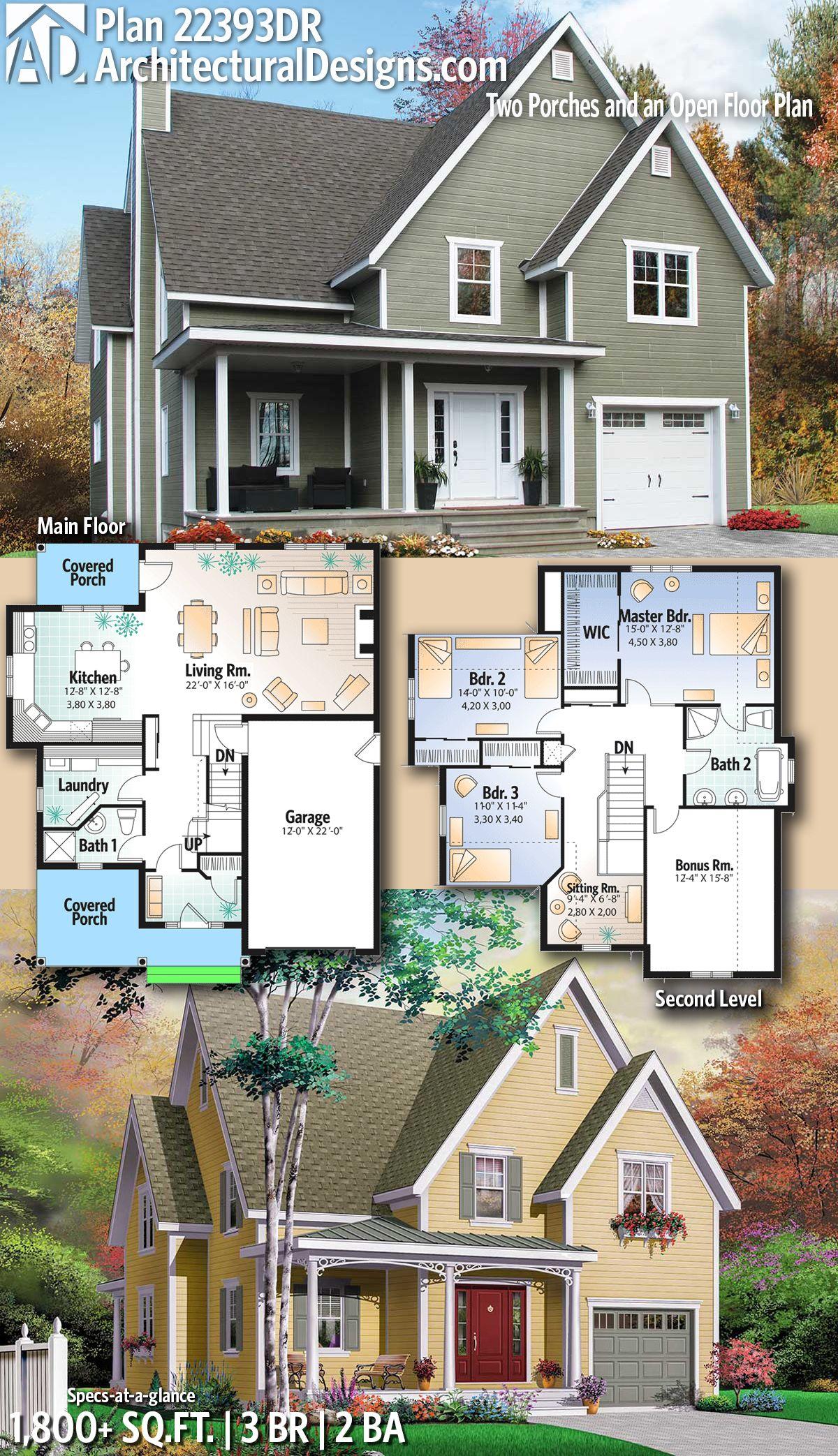 Plan 22393dr Two Porches And An Open Floor Plan House Blueprints Architectural Design House Plans Dream House Plans