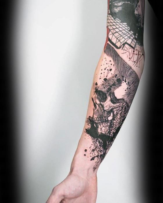 Geometric Flower Tattoo Sleeve: 50 Geometric Forearm Tattoo Designs For Men