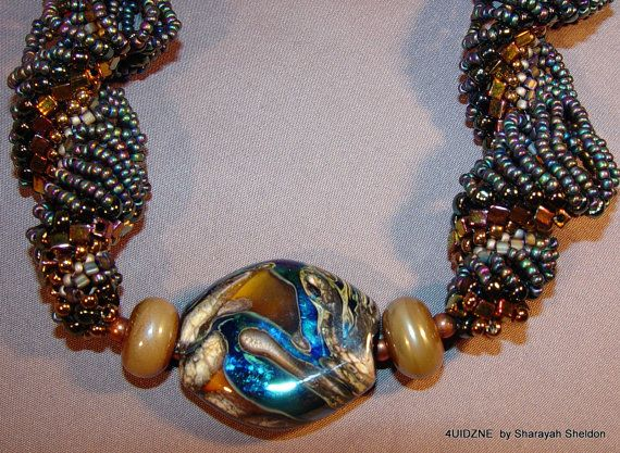 Water & Earth Dutch Spiral Bead Woven Necklace by 4uidzne on Etsy, 30 % OFF THRU SUNDAY  CODE:  TEETH$155.00