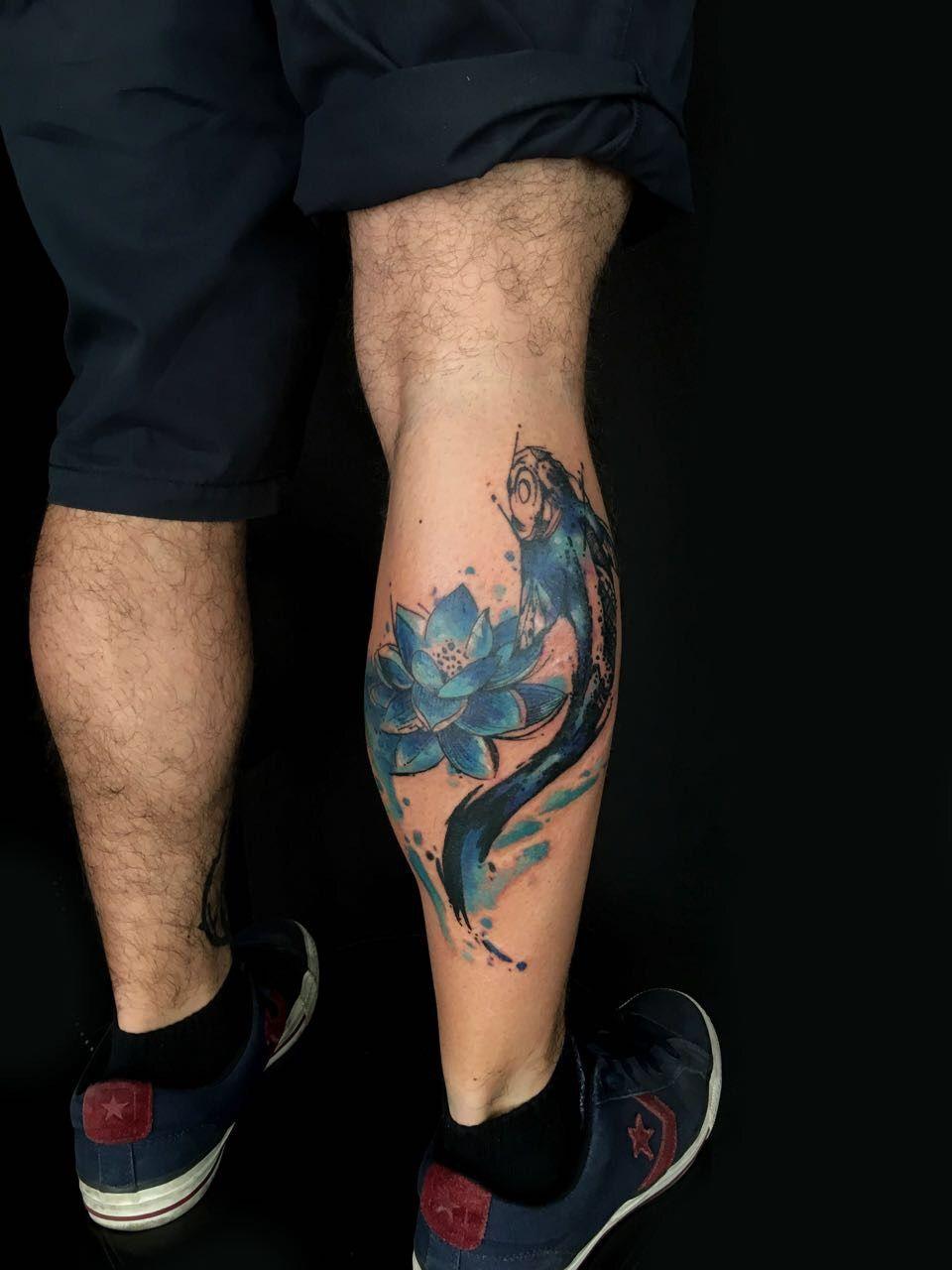 Fishkoi Lotus Flower Tatuajes Pantorrilla Tatuaje Pez Koi Tatuajes