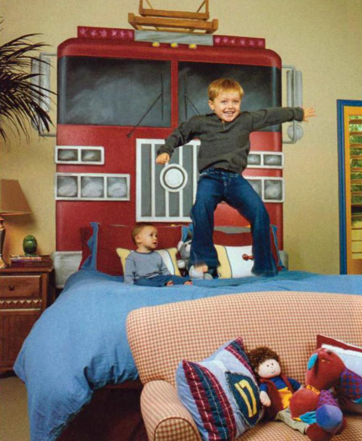 This fireman themed bedroom is a hit with the children of diamondback first baseman mark grace - Fireman bunk bed ...