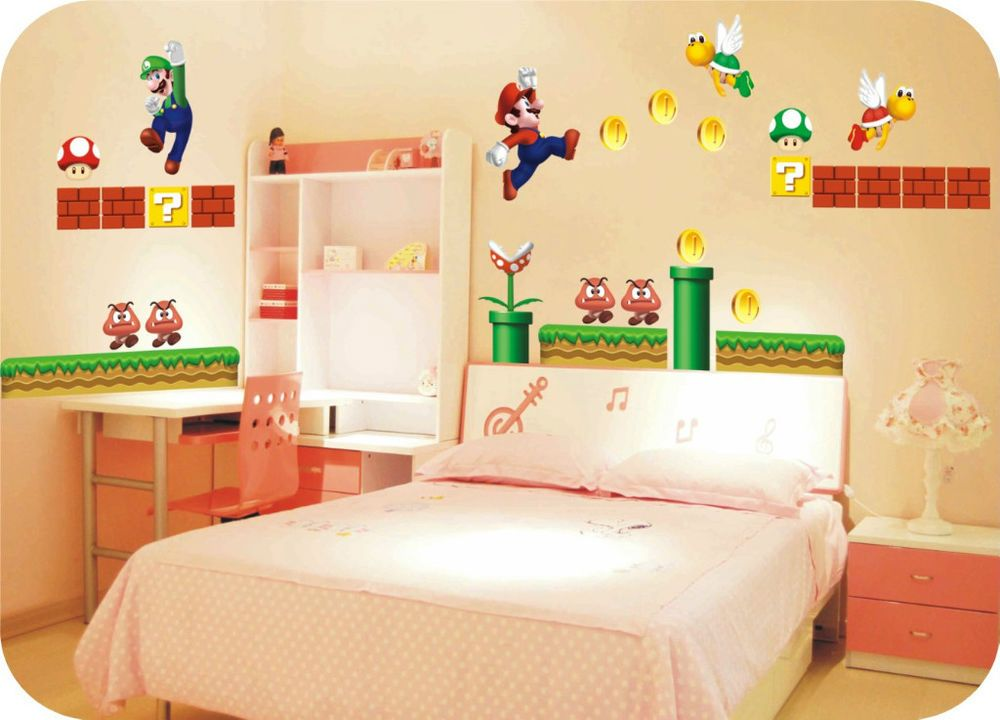 Giant Super Mario Removable Nursery Wall Stickers Kids   Dylan\'s toy ...