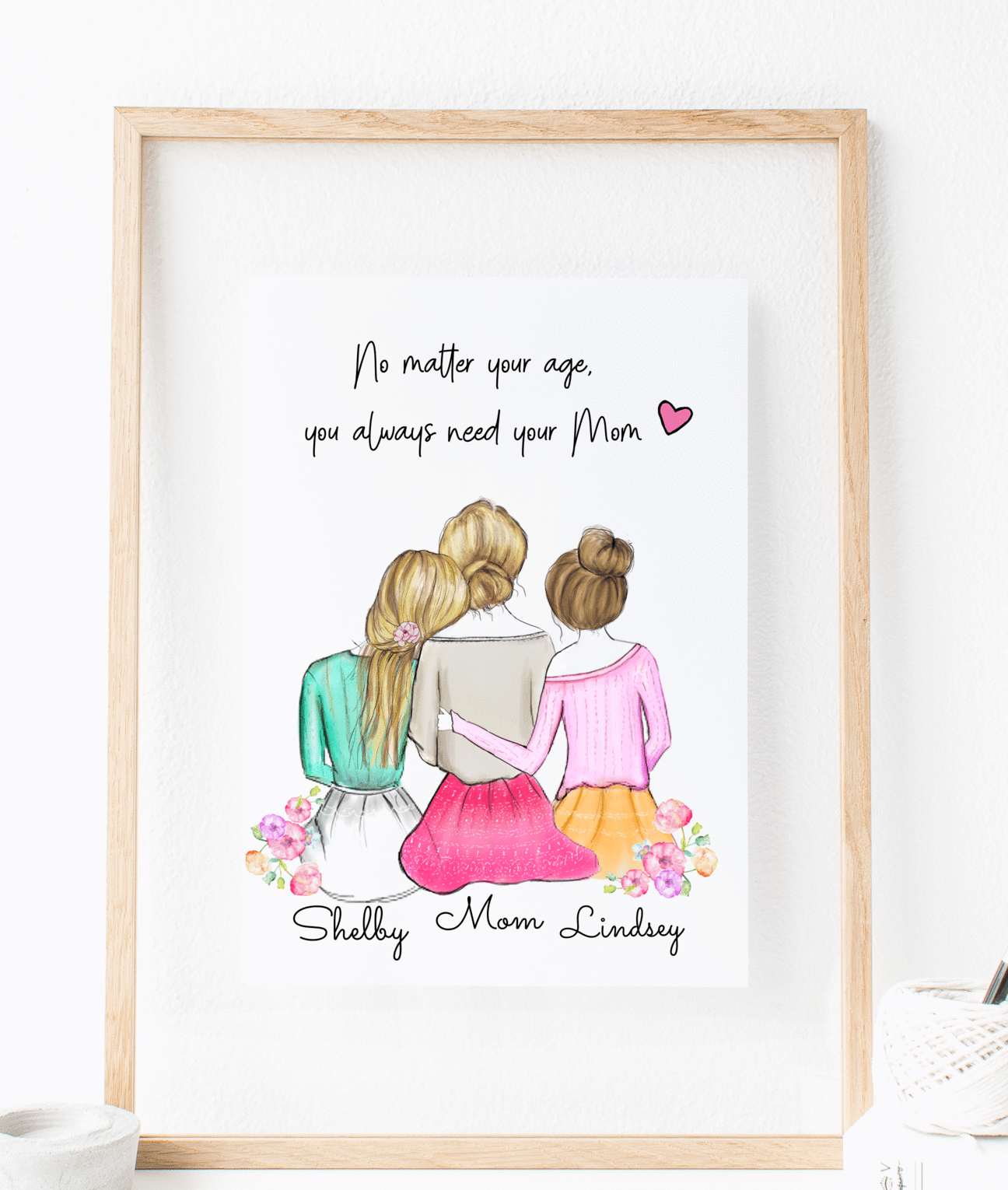 Personalized Daughters And Mom Wall Art In 2020 Friends Travel Wall Art Unique Personalized Gift