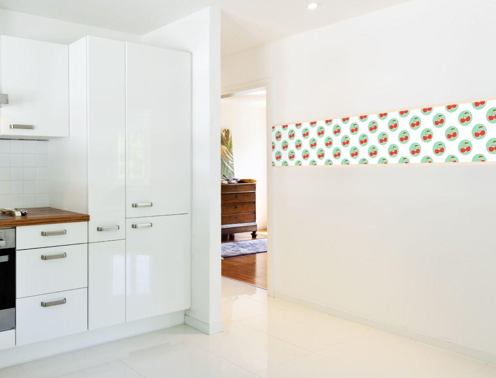 Kirschenmotiv als Bordüre für die Küche - I-love-Wandtattoode - wandtatoos für küche