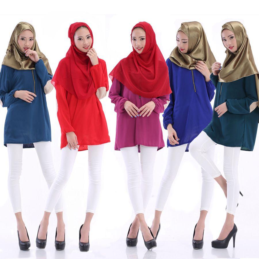 2016 Spring Summer Long Sleeve Patch Cloth Zipper O-Neck Muslim ...