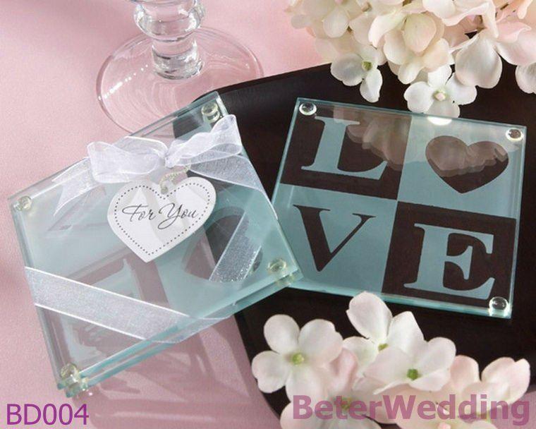 Dhl Free Shipping 240pcs 120set Love Glass Coasters Wedding