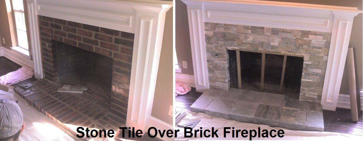Stone Tile Over Brick Fireplace Brick Fireplace Fireplace Updating House