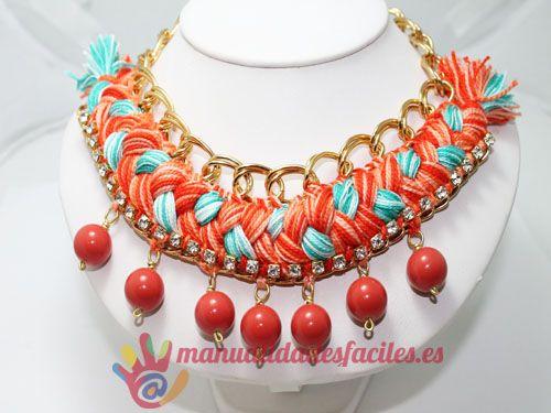 dbdc296e2b0c Como hacer un collar tejido con cadenas y abalorios