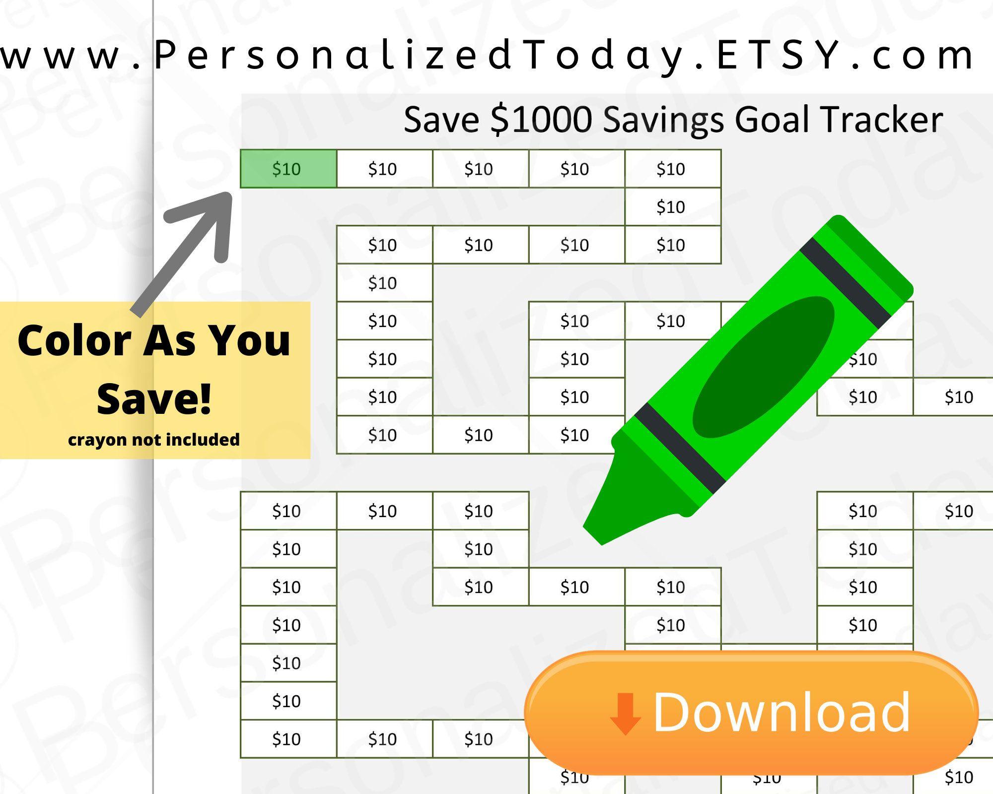 Printable Visual Coloring Savings Goal Tracker Save One