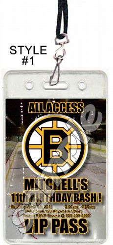 Boston Bruins Set Of 12 Vip Party Invitation Pes Or Favors Reelpartyinvitations Cards