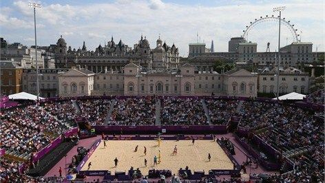HORSE GUARDS PARADE - Located on the Prime Minister's doorstep in central London, Horse Guards Parade provides an iconic location for the London 2012 Beach Volleyball competition. This temporary arena has been constructed for the London 2012 Games, with a capacity similar to Wimbledon's Centre Court. A total of 5,000 tonnes of sand is being brought in from a quarry in Godstone, Surrey, to create the capital's very own 'beach'.