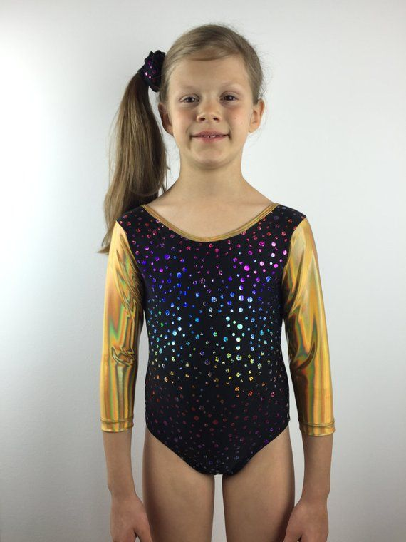 ee22875ef60e Gymnastics Leotard, Sparkly Leotard, Girls Leotard, Black Spandex with Rainbow  Dots and Gold 3/4 Sle