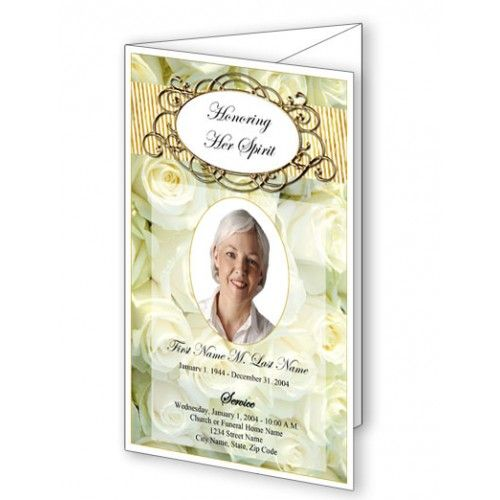cherished white roses trifold funeral program template eulogy