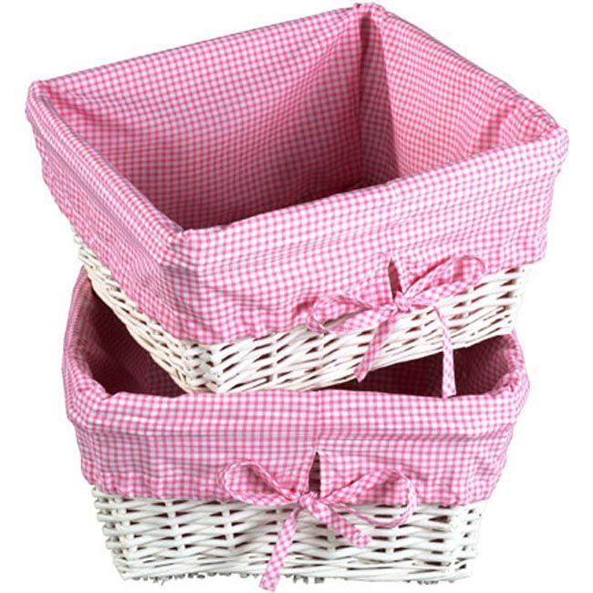 White Wicker Basket Set With Pink Liners