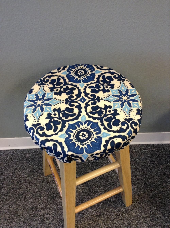 Round Barstool Cover With Cushioned Foam Elasticized Wood Block