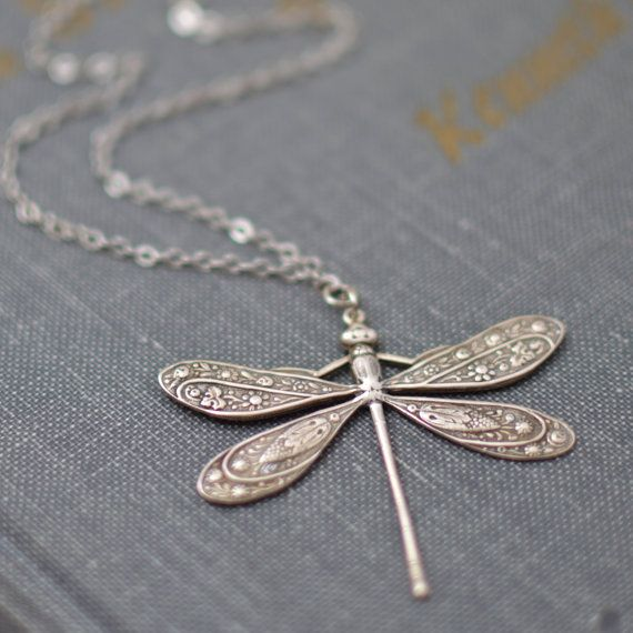 Antiqued Silver Dragonfly Necklace by ZuzusPetalsCreations on Etsy, $24.00