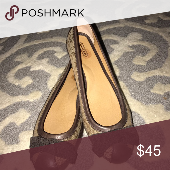 Coach flats-size 9.5. Brown and beige. Adorable and super comfy beige and brown Coach flats.  Size 9.5.  Wore for an hour and found them to be to big for my feet so ordered a size smaller. Coach Shoes Flats & Loafers