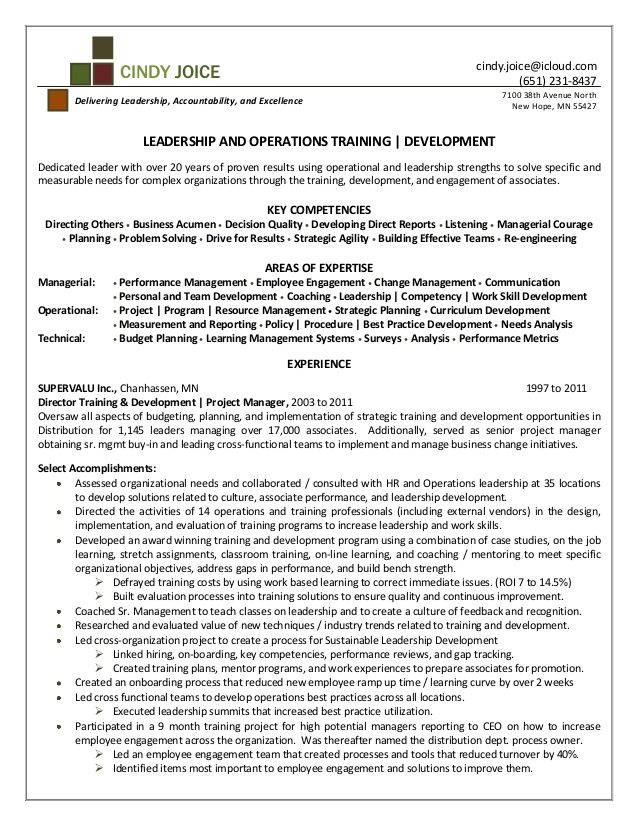 Example Resume for Training And Development - http://resumesdesign ...