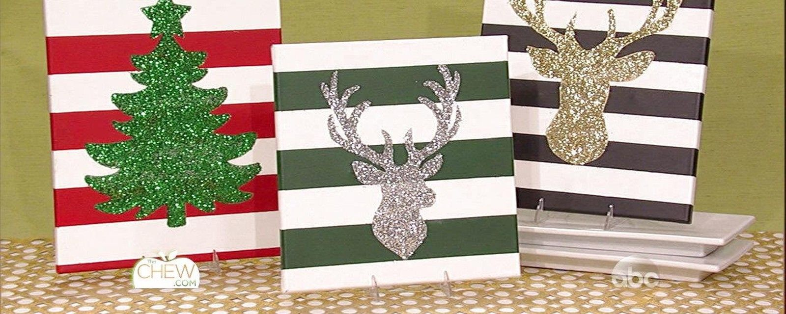 Diy christmas decorations glitter snowflake canvases