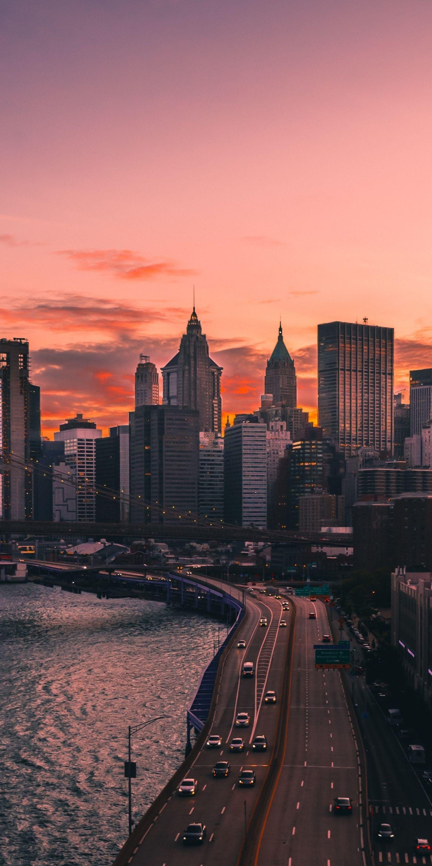 Sunset, city, roads, cityscape, 1440x2880 wallpaper