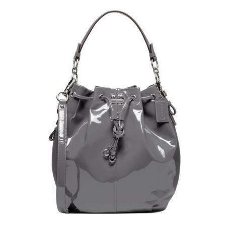 Coach Madison Patent Leather Dark Grey Drawstring Handbag 17745 I Have This One Love It