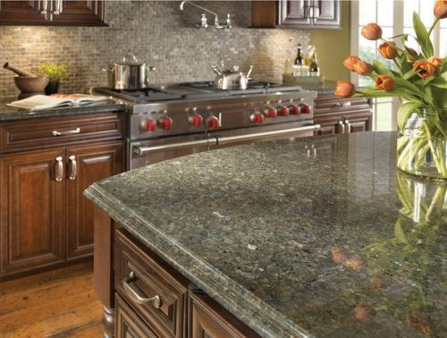 Wonderful Modern And Classy Kitchen With Green Granite Kitchen Countertops