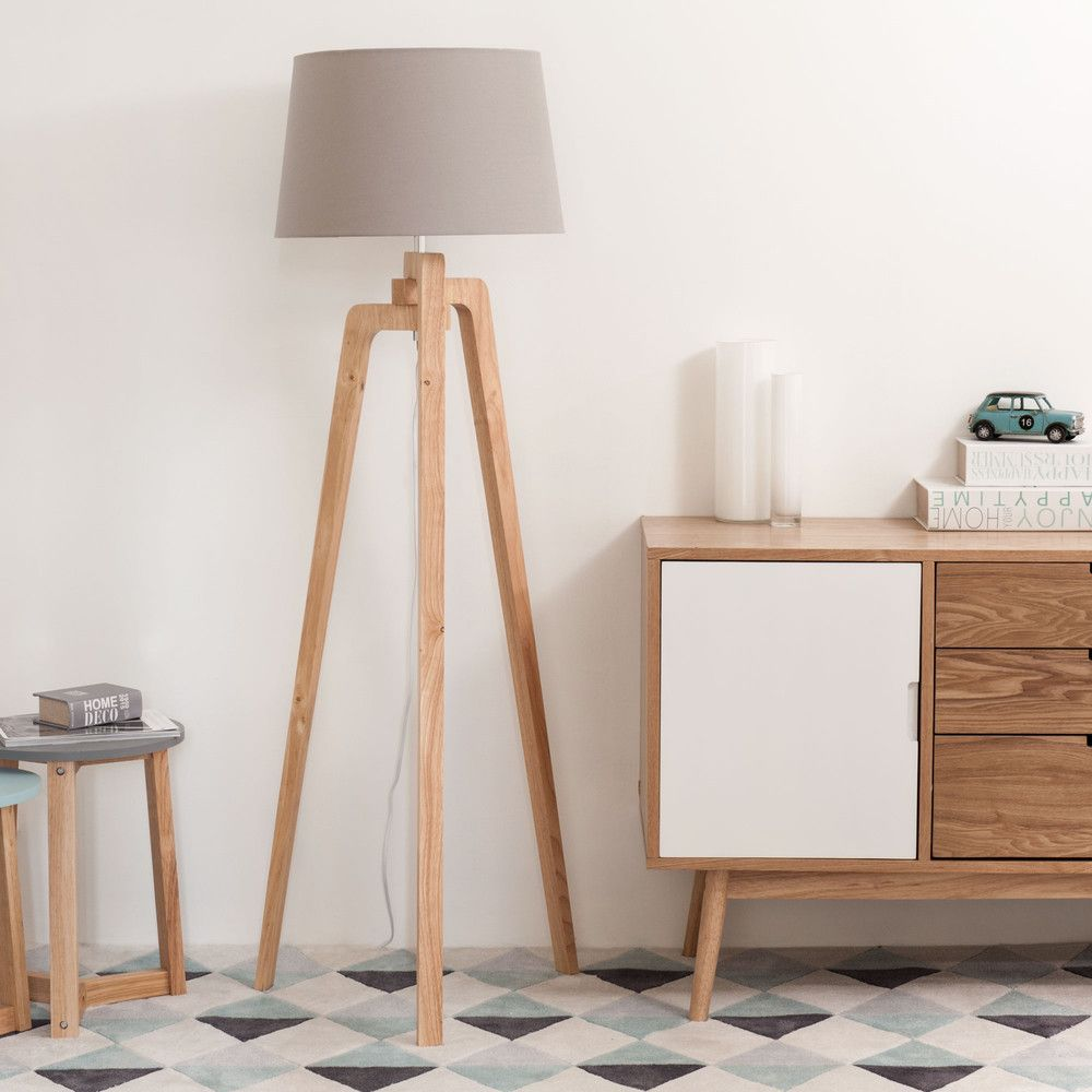 Lampadaire tr pied en bois et coton h 150 cm tripod for Lampadaire style scandinave