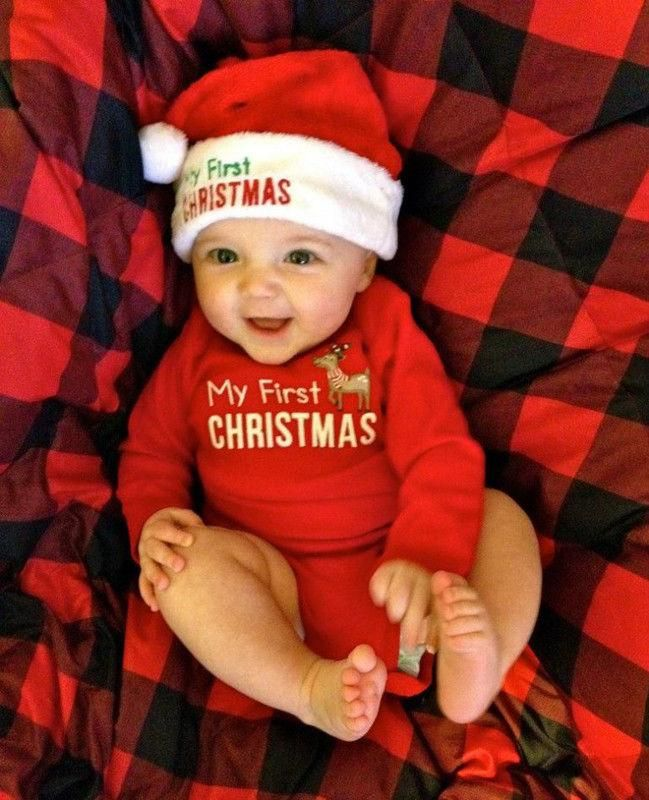 MY First Christmas Baby Boy Girl Romper Bodysuit Jumpsuit Clothes Outfits USA 1