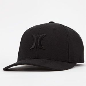 Hurley One and Only Black with Embroidered Logo Flex Fit Baseball Cap Hat Lids