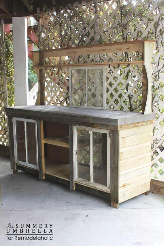 How to build a potting bench from reclaimed wood and old for Using reclaimed wood