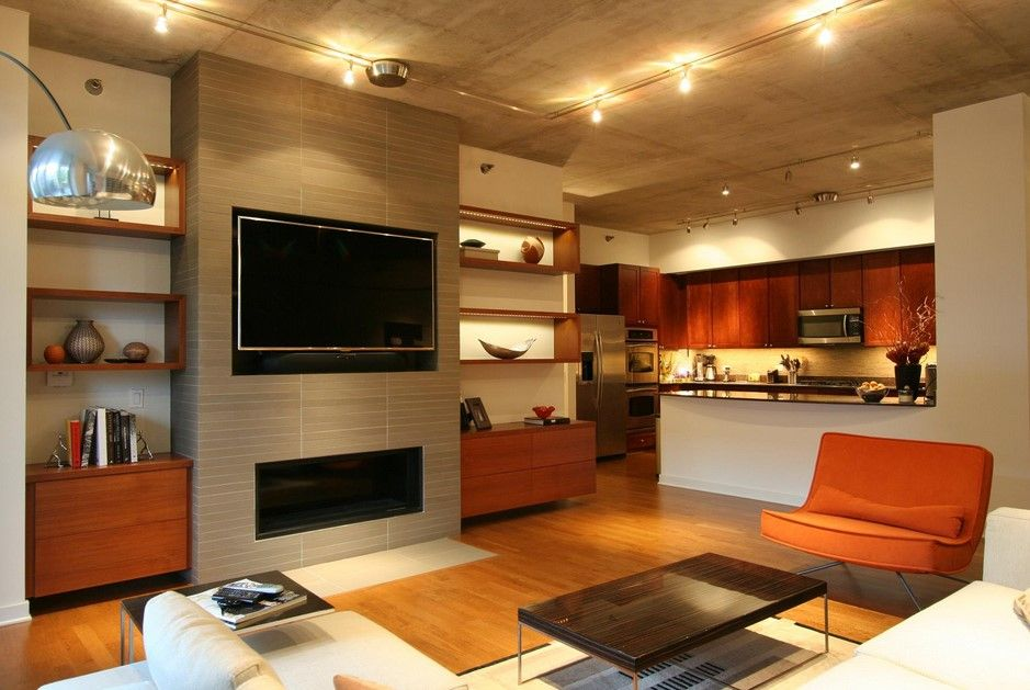 stunning-built-in-bookshelves-around-fireplace-lighting-fixtures-wooden-kitchen-cabinet-custome-size-TV-plasma-laminate-hardwood-flooring.jpg (939×629)