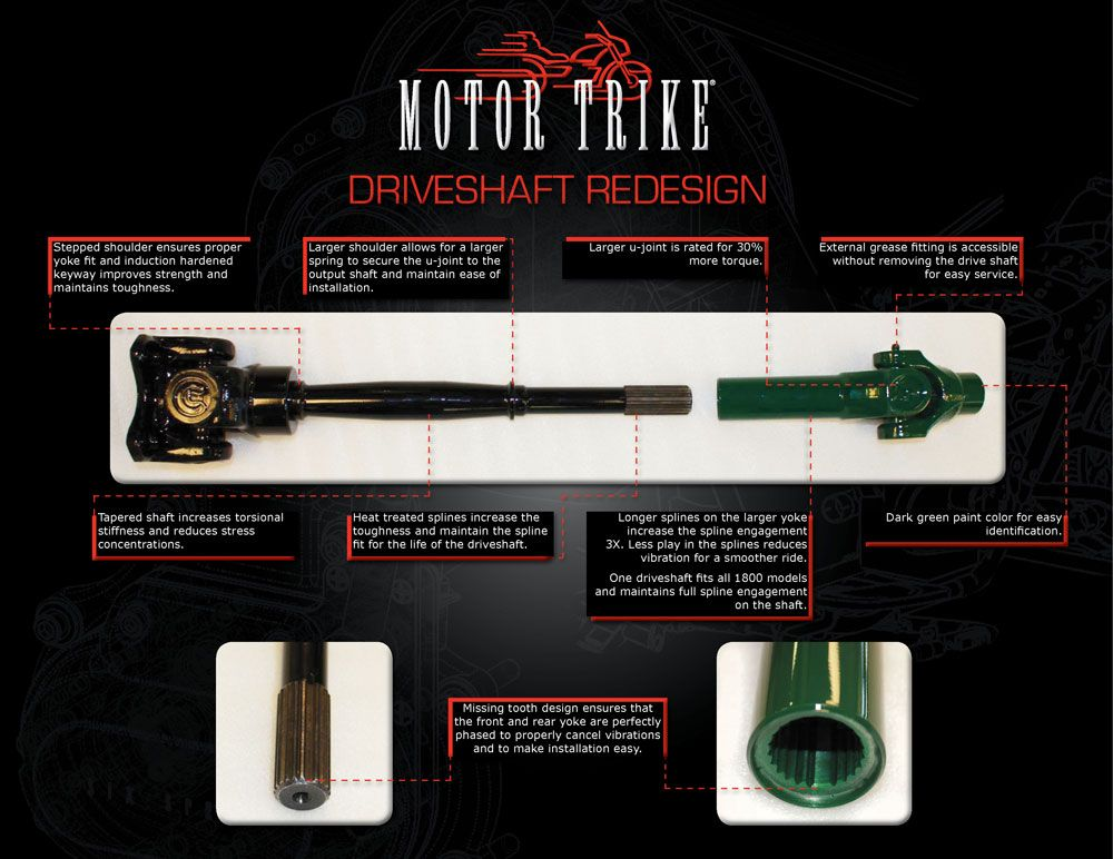 Motor Trike's redesigned drive shaft has 30% more torque rating