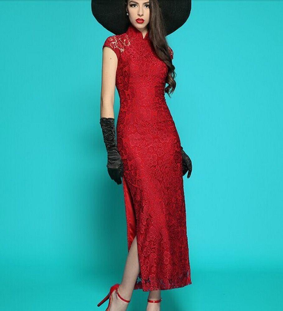split side gown cheongsam wedding maxi Lace dress plus size 1x-10x ...