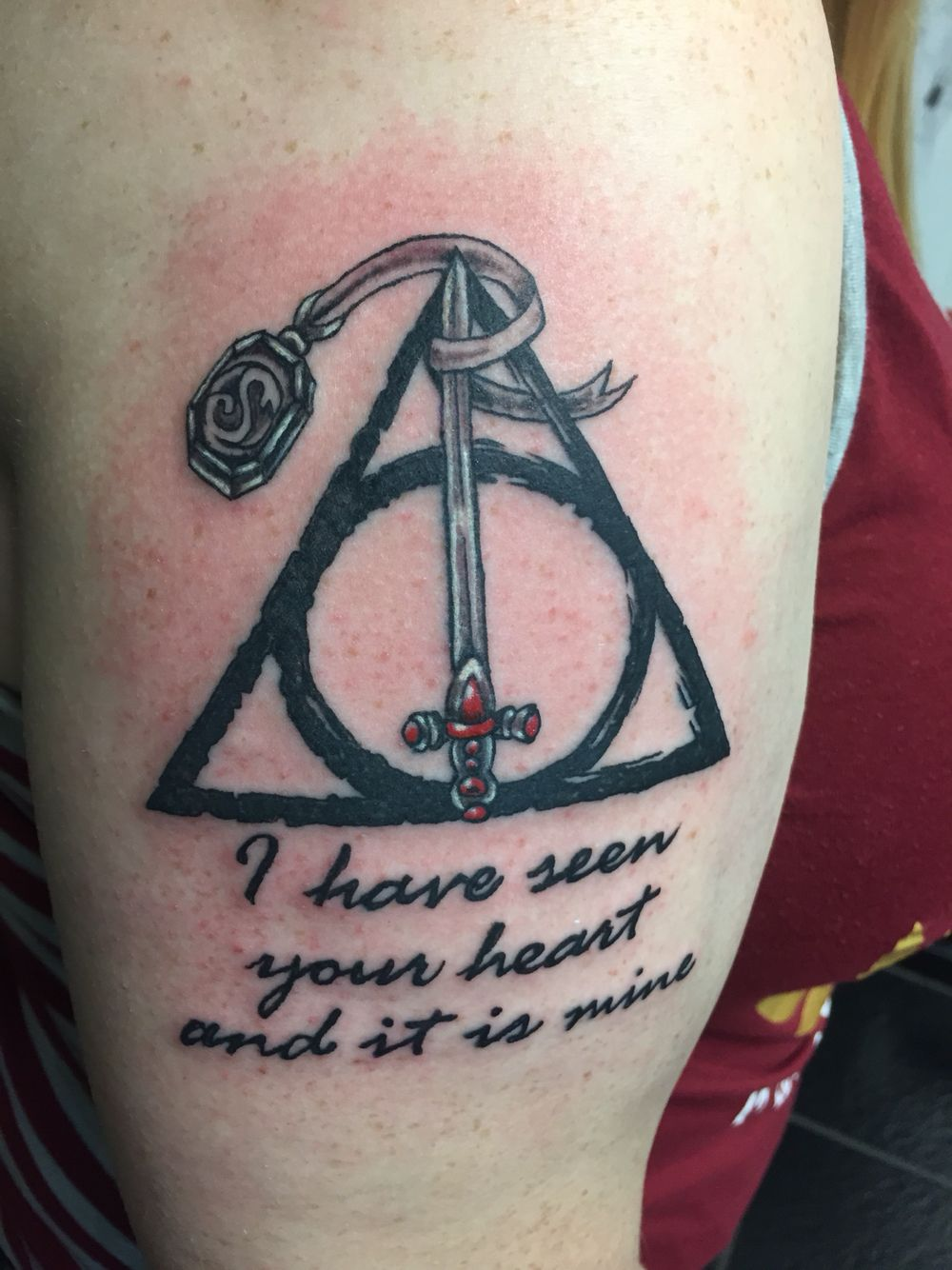 New Harry Potter Tattoo Deathly Hallows With The Sword Of Gryffindor And Slytherin S Locket With A Harry Potter Tattoo Harry Potter Tattoos Slytherin Tattoo