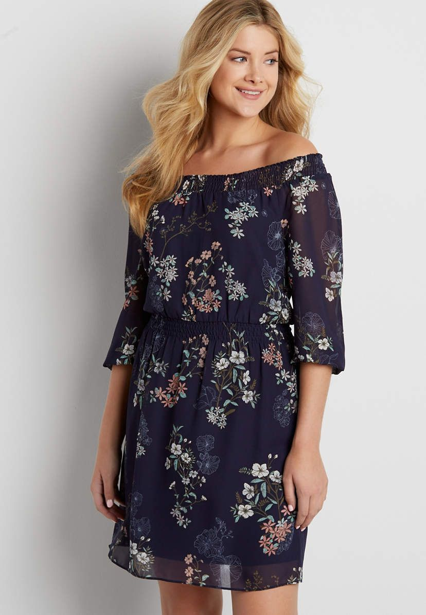 8b54abf21f114 Chiffon off the shoulder dress in floral print