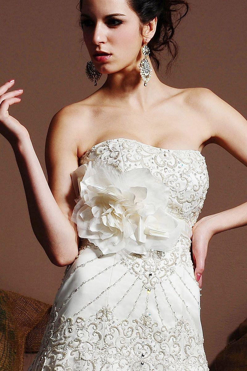 Exquisite satin handmade rose wedding ribbon bridal belt