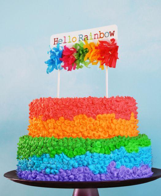 Hello Rainbow cake #cake #rainbow