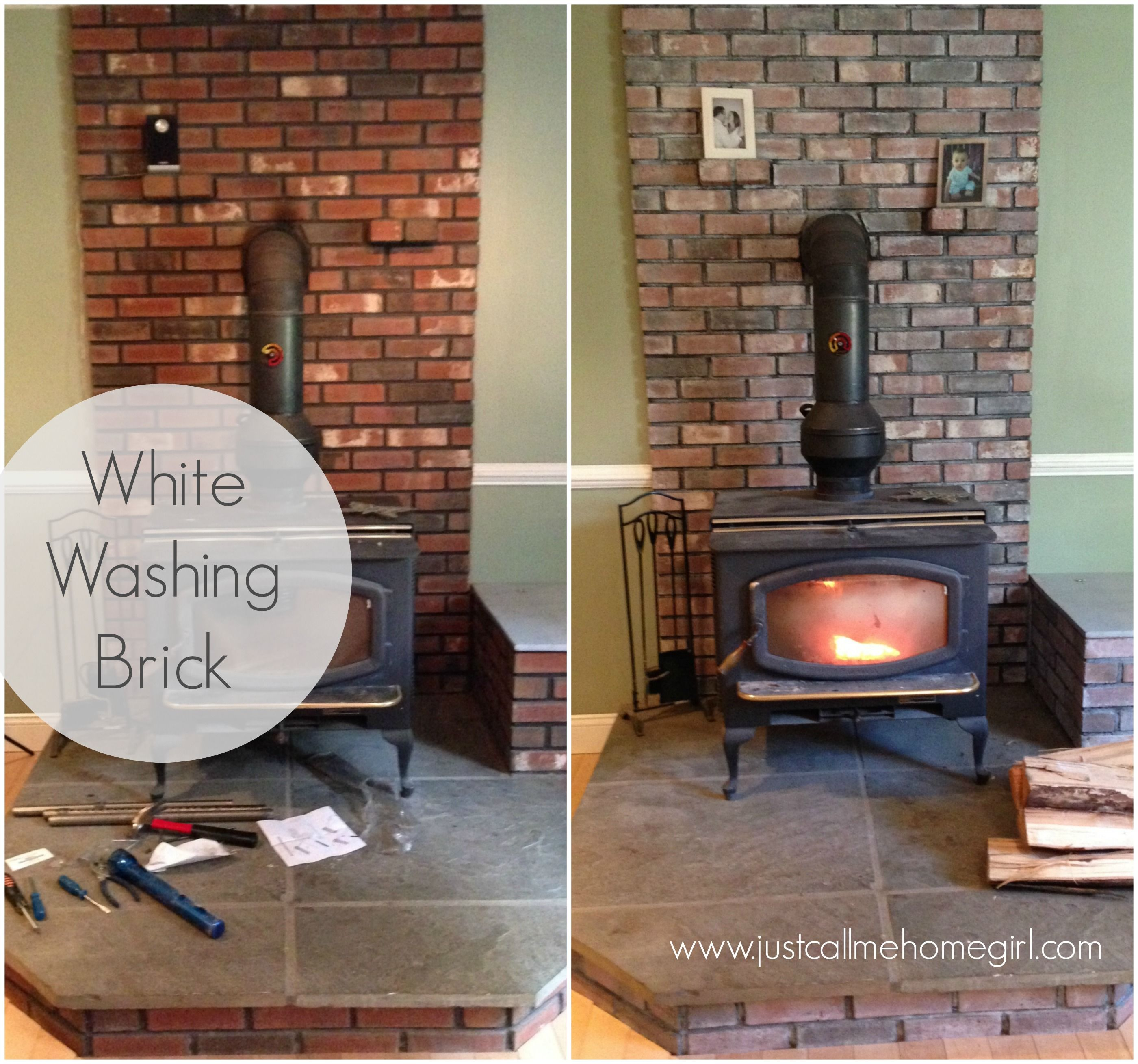 White Washing Brick Wood Stove Decor White Wash Brick