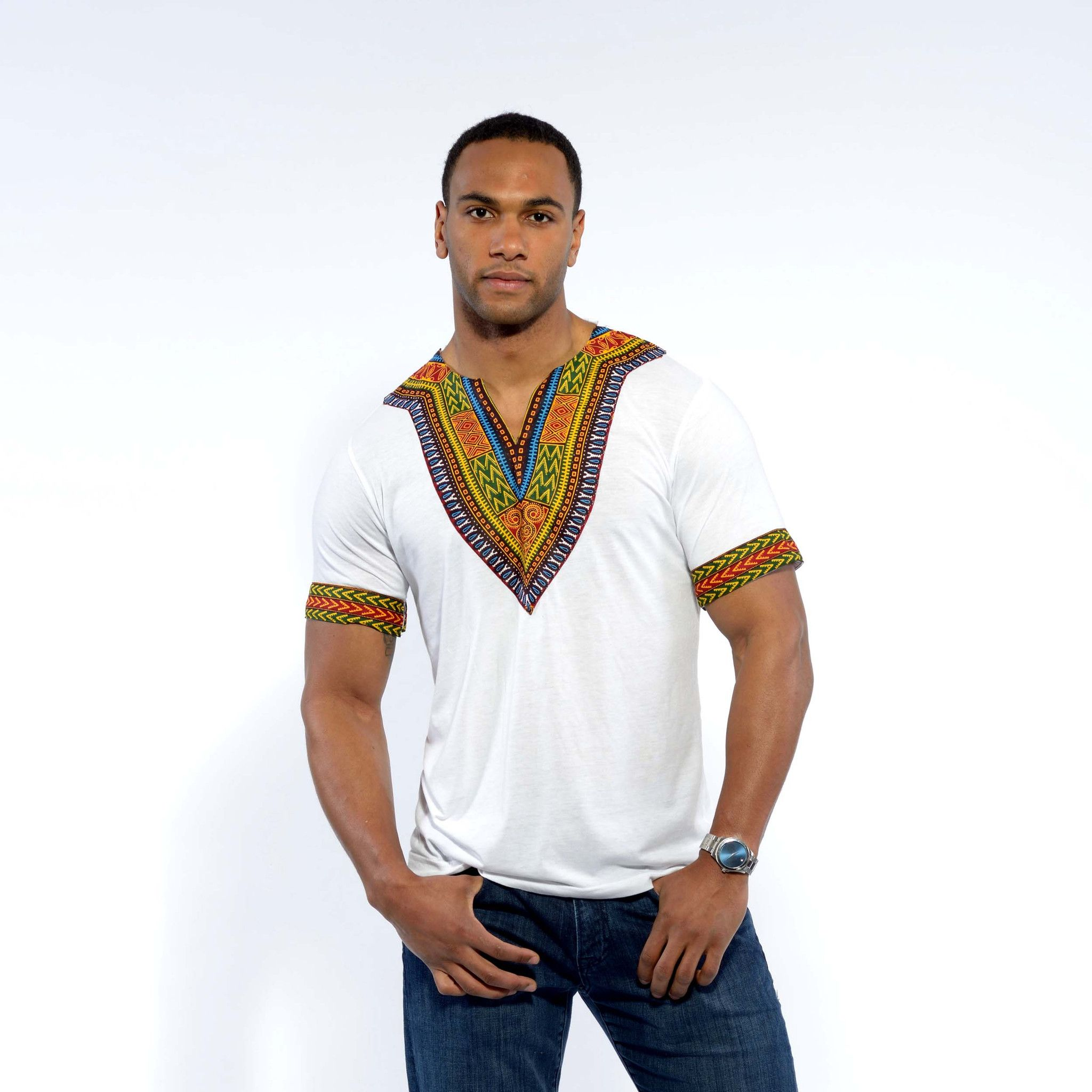 Men's African Print Dashiki T-Shirt (White)
