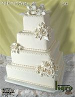 Take the bow and flowers off, nice square cake