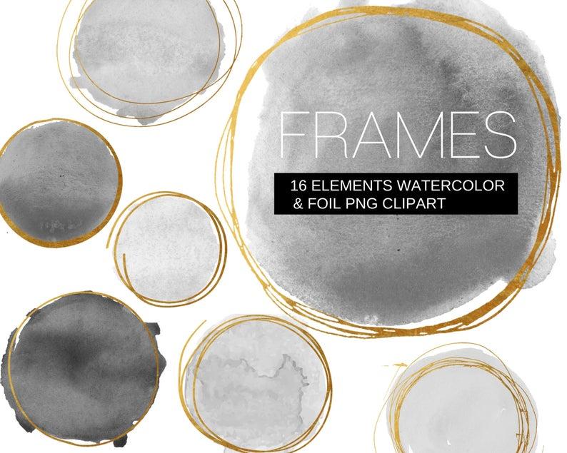 16 Black And Grey Watercolor Dot And Gold Foil Frames Clipart Png Transparent Paint Spots Brush Strokes Fine Line Gold Frame Commercial Clip Art Frame Clipart Elephant Clip Art