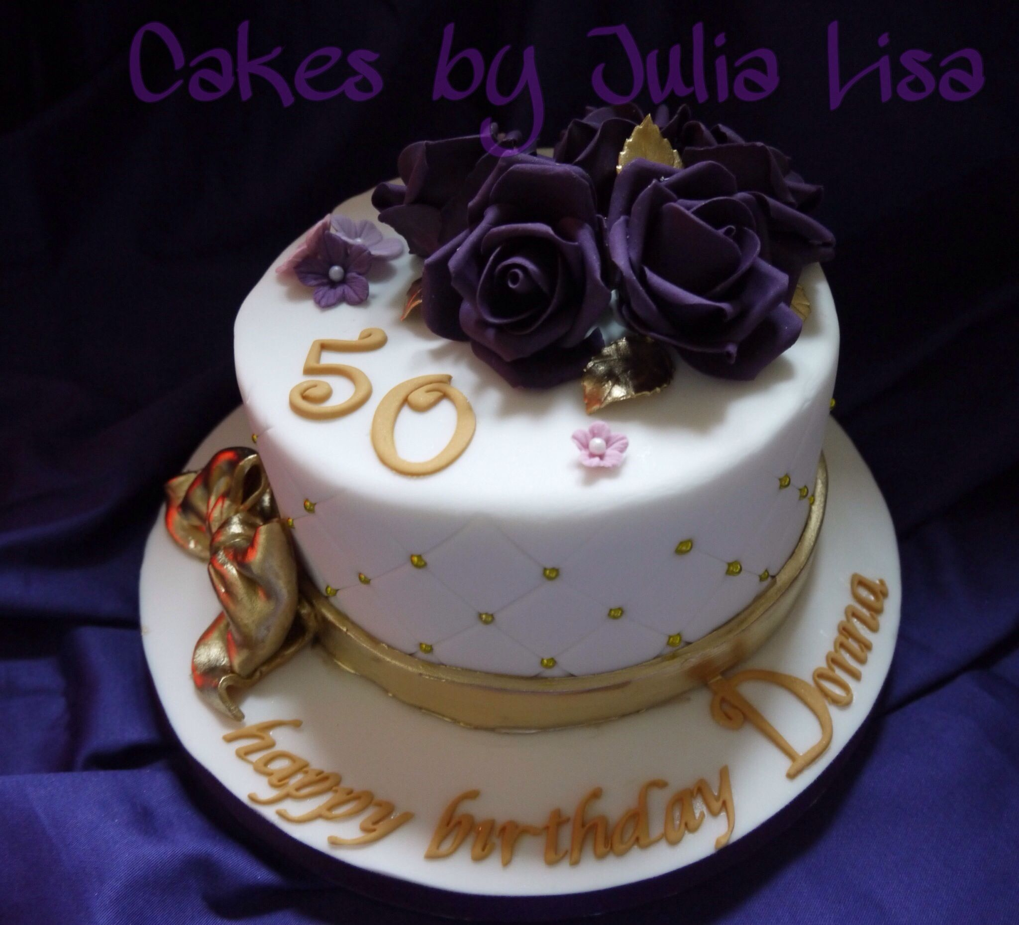50th Birthday cake with handmade fondant roses quilted design