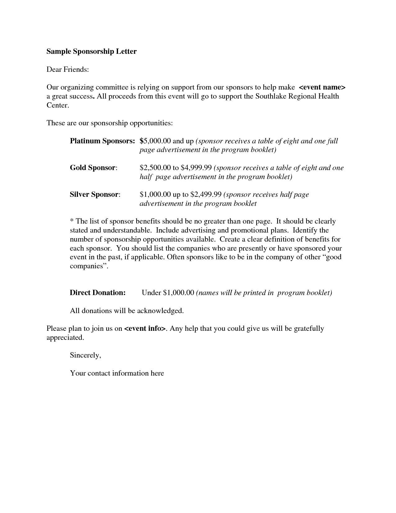 free proposal letter template – Sponsorship Letter Template Free