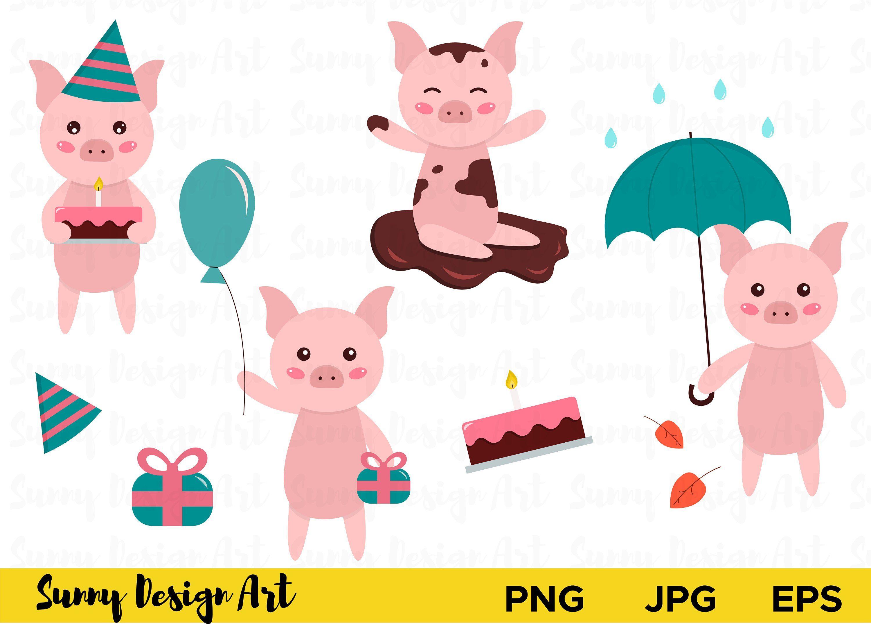 cute pig clipart vector piglets cartoon pig pigs clipart [ 3000 x 2147 Pixel ]