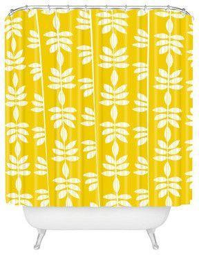 Heather Dutton Abadi Sunburst Shower Curtain Bright Yellow Pantone Meadowlark Lemon