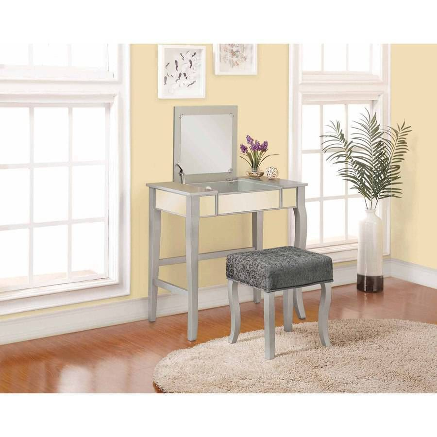 Linon Harper Vanity Set Including Mirror And Stool Silver: Silver Vanity Makeup Set Jewelry Dresser Table Stool