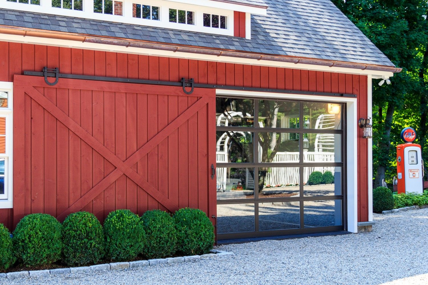 Sliding Barn Door Open Revealing Glass Garage Door Very Cool
